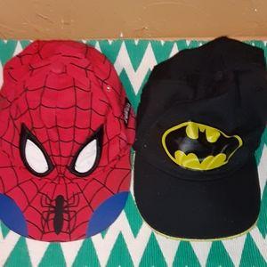 2 boys hats Spider-Man and Batman
